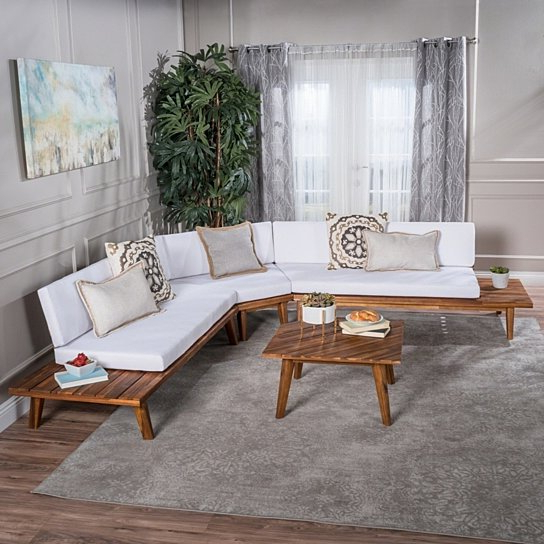 Famous Ellison Indoor Minimalist V Shaped 4 Piece Sandblast Finished Acacia Wood  Sectional Sofa Set With White Cushions Inside Ellison Patio Sectionals With Cushions (View 9 of 20)