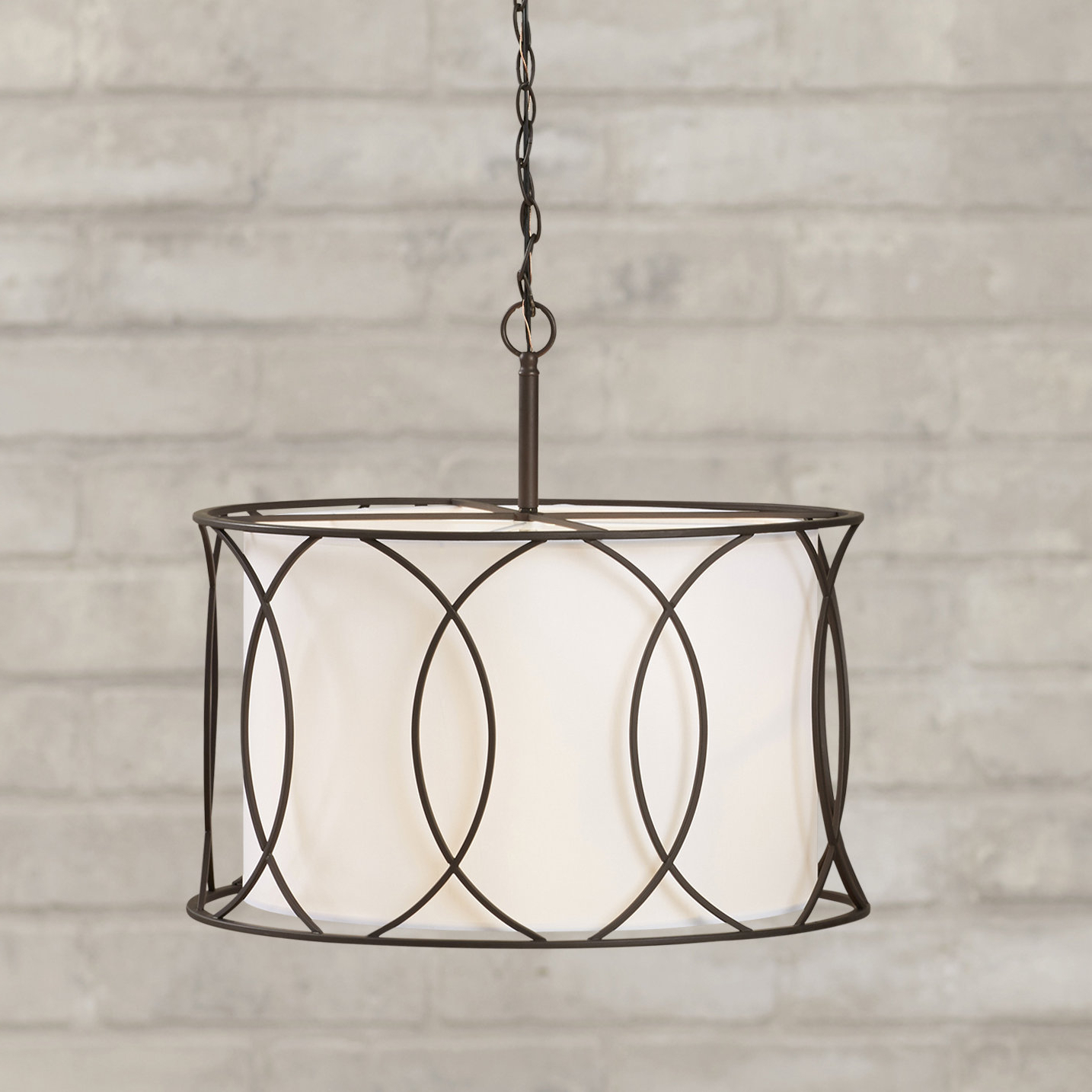 Famous Farrier 3 Light Lantern Drum Pendants Regarding Tadwick 3 Light Single Drum Chandelier (View 5 of 20)