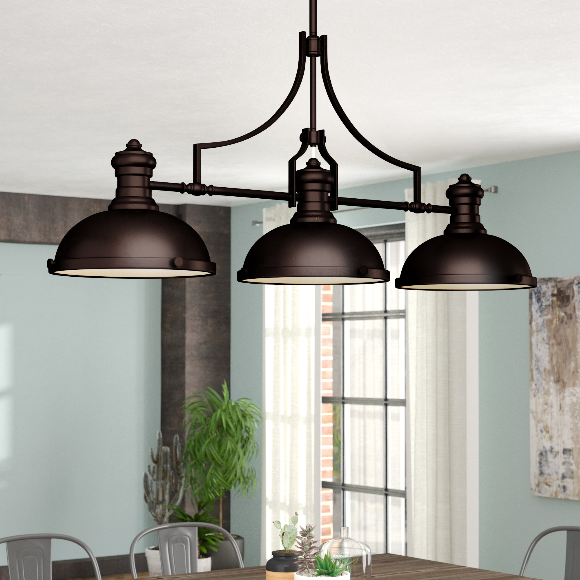 Famous Fredela 3 Light Kitchen Island Pendant Within Martinique 3 Light Kitchen Island Dome Pendants (View 4 of 20)