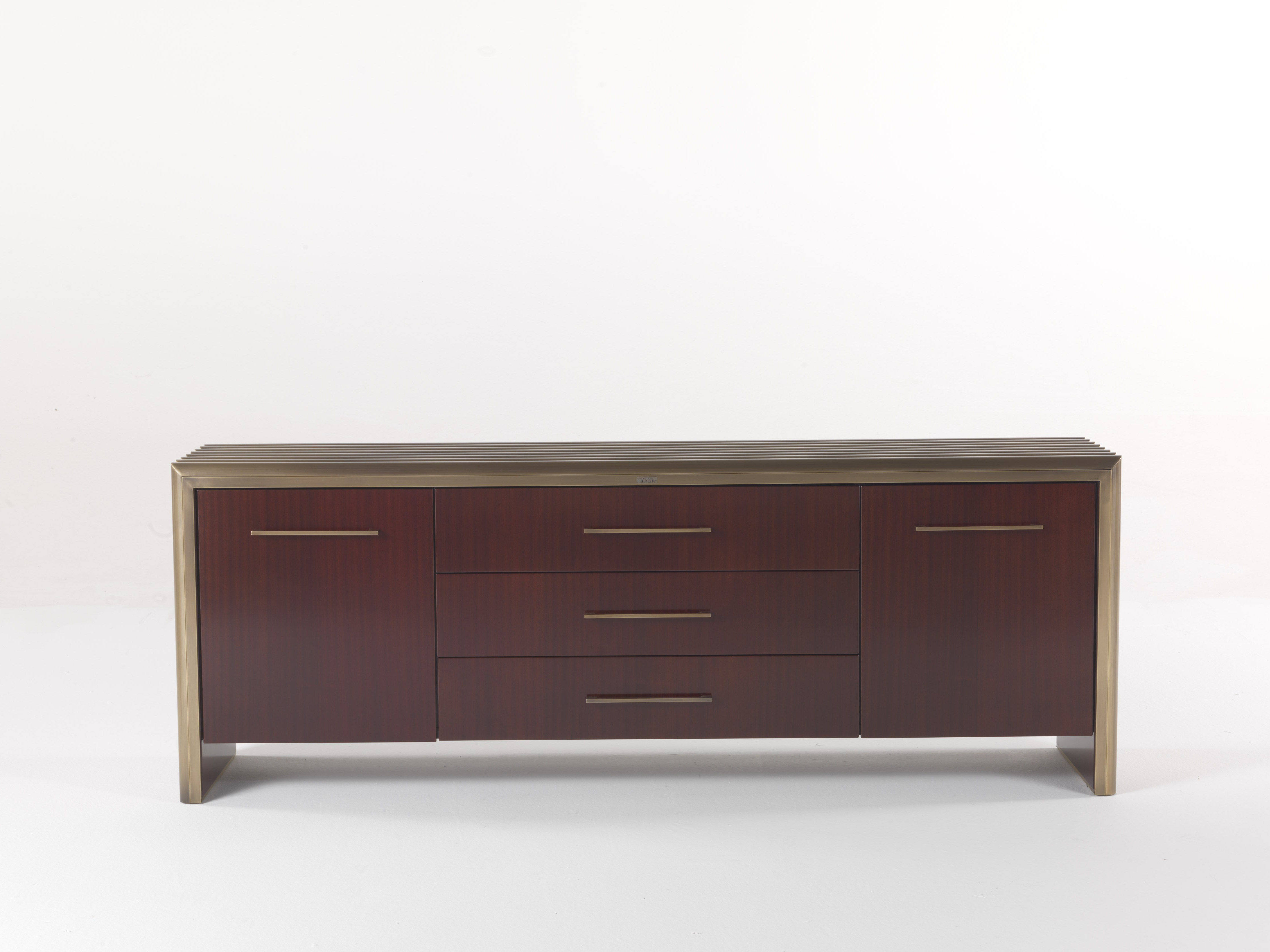 Famous Gianfranco Ferré Tate Sideboard In Wood And Brass For Sale Intended For Tate Sideboards (Gallery 13 of 20)