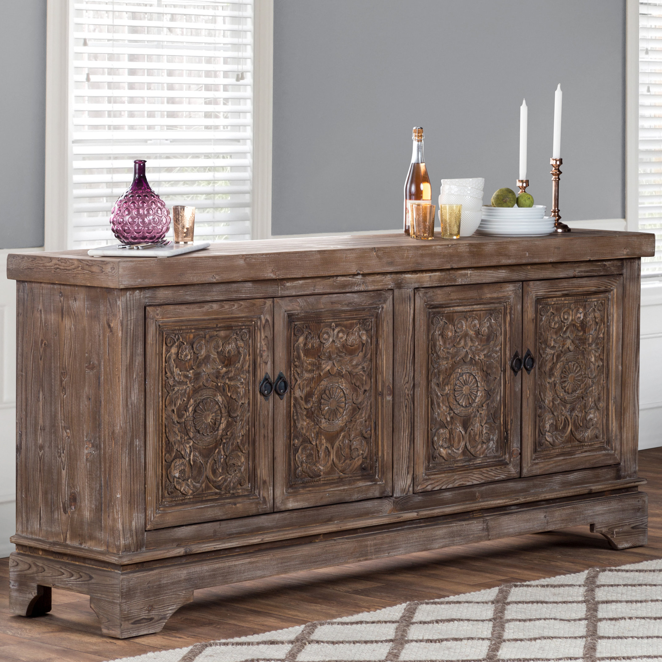 Famous Haroun Mocha Sideboards With Regard To Steinhatchee Reclaimed Pine 4 Door Sideboard (View 5 of 20)