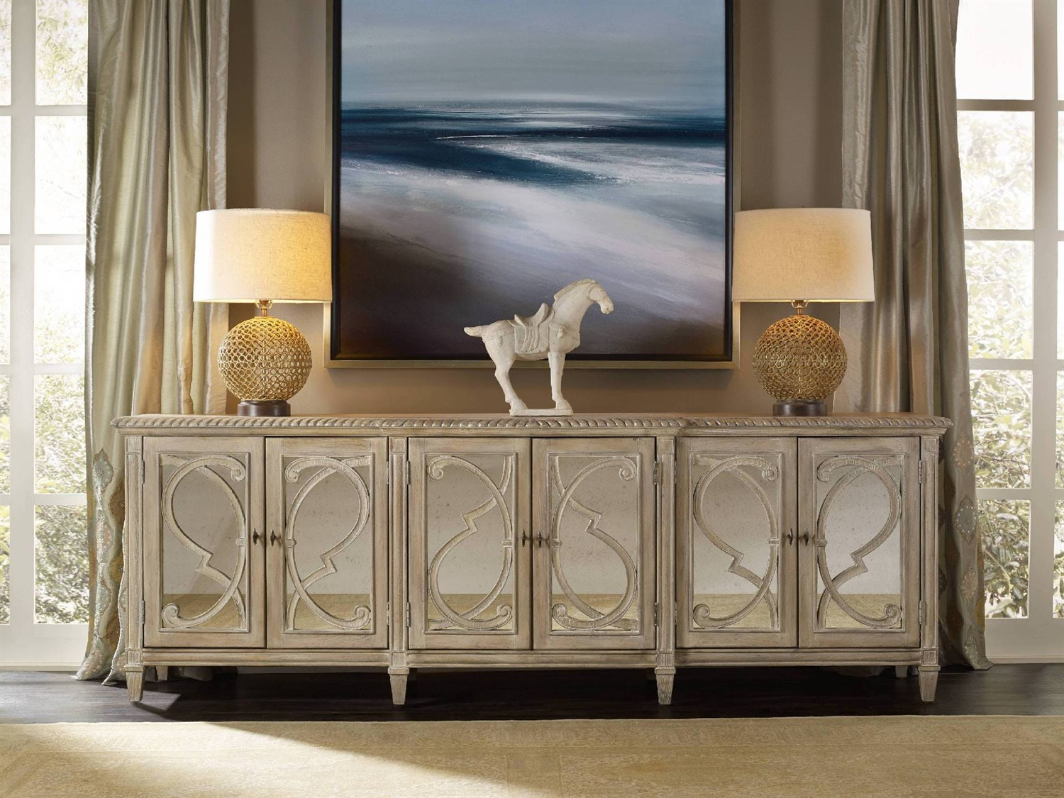 Famous Hooker Furniture Solana Light Wood 105''l X 22''w Rectangular Console Buffet Within Solana Sideboards (View 7 of 20)