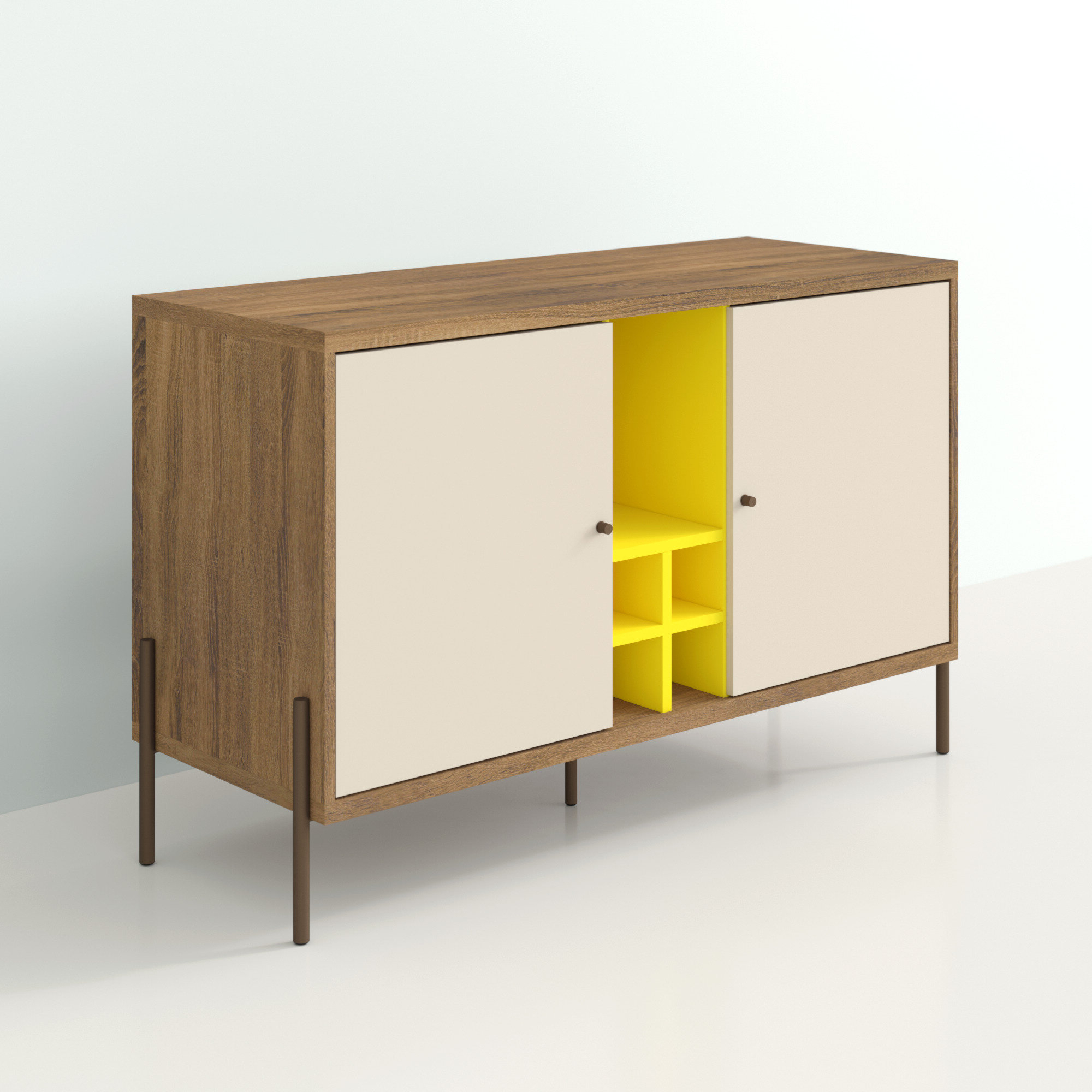 Famous Keiko Modern Bookmatch Sideboards Inside Alviso 4 Bottle Wine Serve (View 7 of 20)