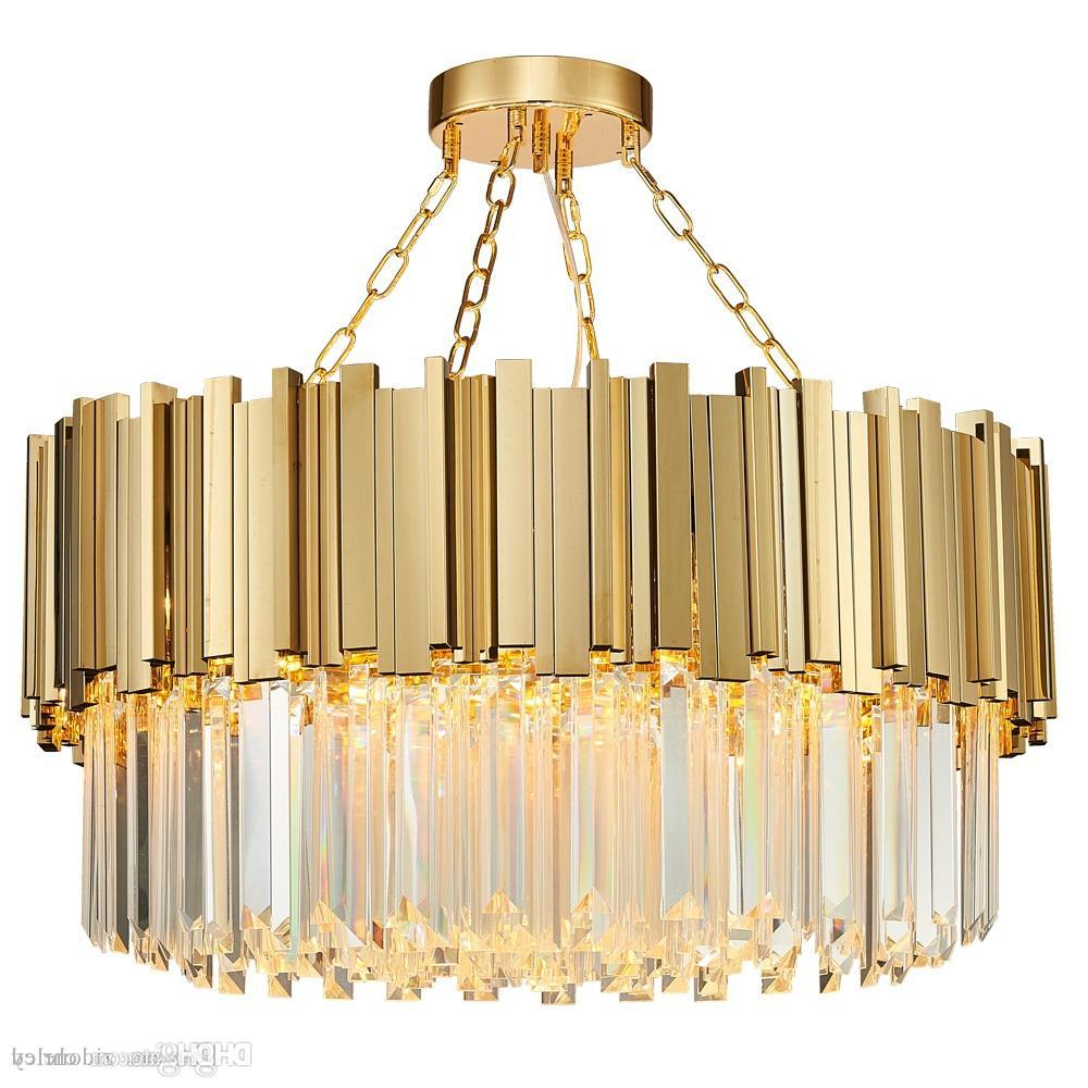 Famous Lindsey 4 Light Drum Chandeliers With Regard To Round Luxury Modern Crystal Chandelier Irregular Gold Stainless Steel Tube Pendant Lamp Clear Crystal Hanging Light Fixture For Living Room (View 20 of 20)