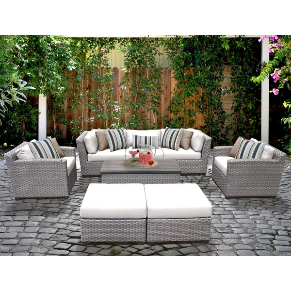 Famous Meeks Patio Sofas With Cushions Regarding Meeks 8 Piece Sofa Seating Group With Cushions (View 2 of 20)