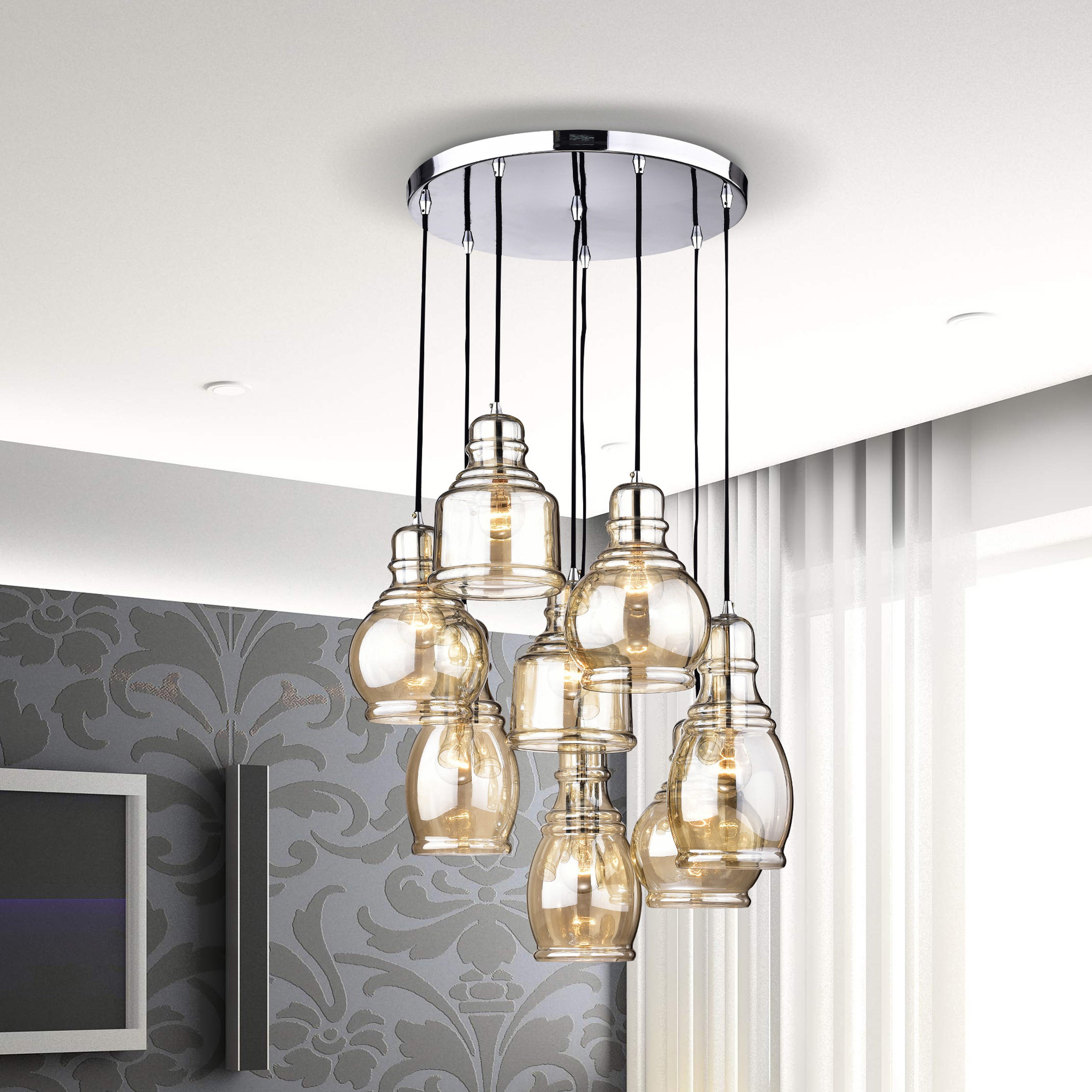 Famous Pruett Cognac Glass 8 Light Cluster Pendants Throughout Mariana 8 Light Cognac Glass Cluster Pendant Chandelier With Chrome Finish  And Round Base (View 3 of 20)