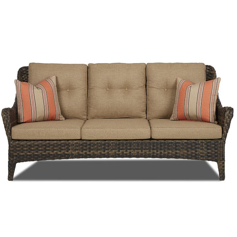 Famous Ranstead Patio Sofa With Cushion Throughout Katzer Patio Sofas With Cushions (Gallery 7 of 20)