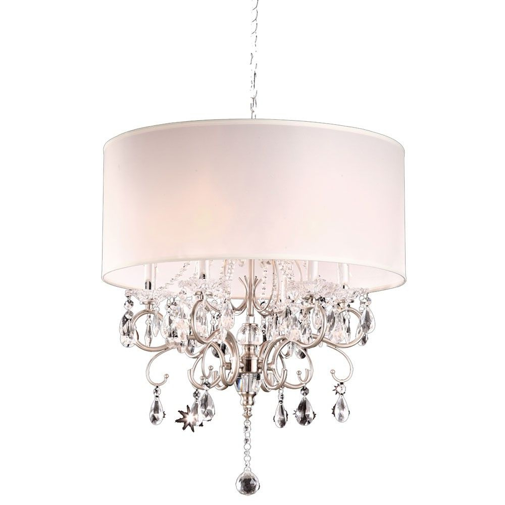 Famous Round Crystal Silver Chandelier . I Have The Crystal Part In Lindsey 4 Light Drum Chandeliers (Gallery 11 of 20)