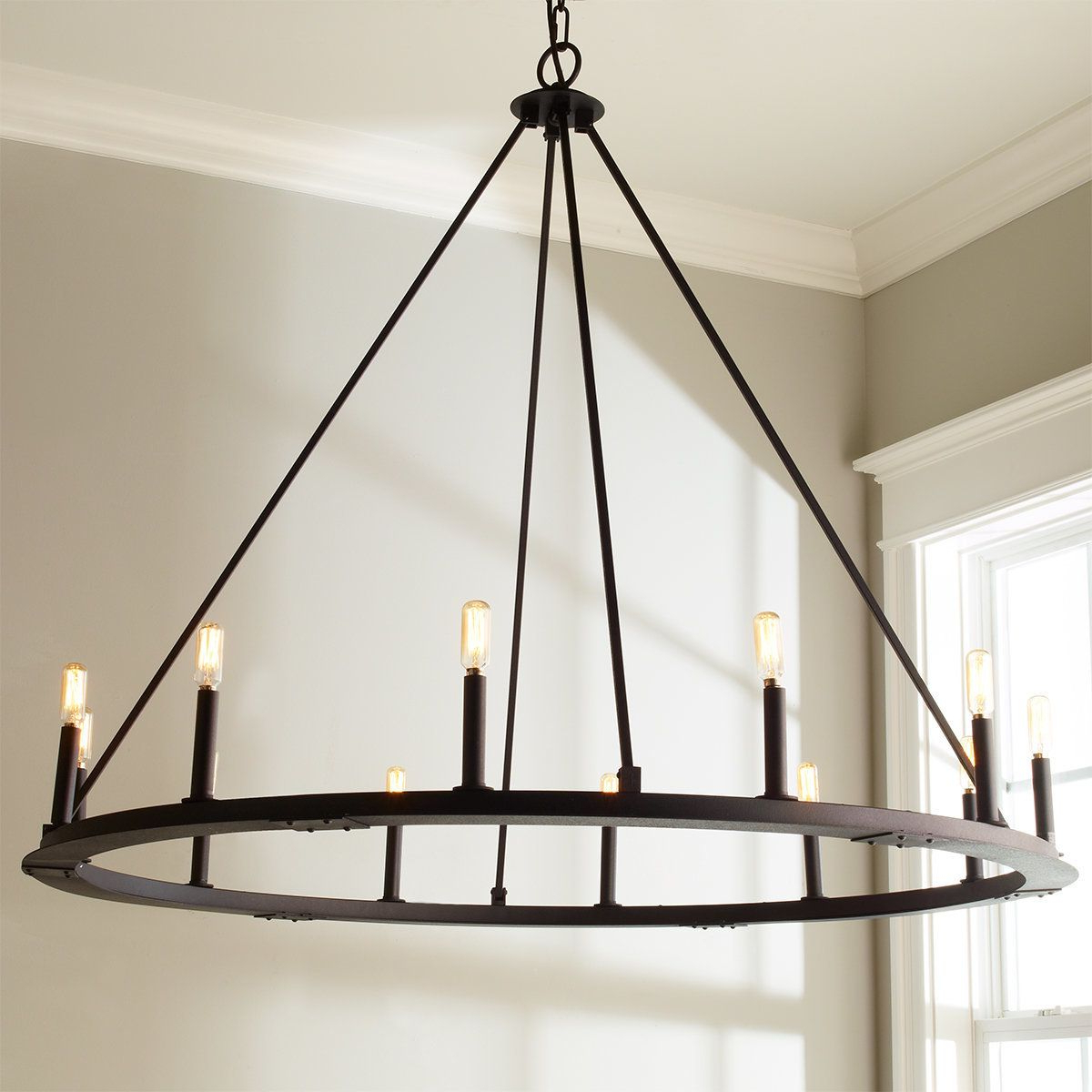 Famous Shayla 12 Light Wagon Wheel Chandeliers With Check Out Minimalist Iron Ring Chandelier – 12 Light From (View 3 of 20)