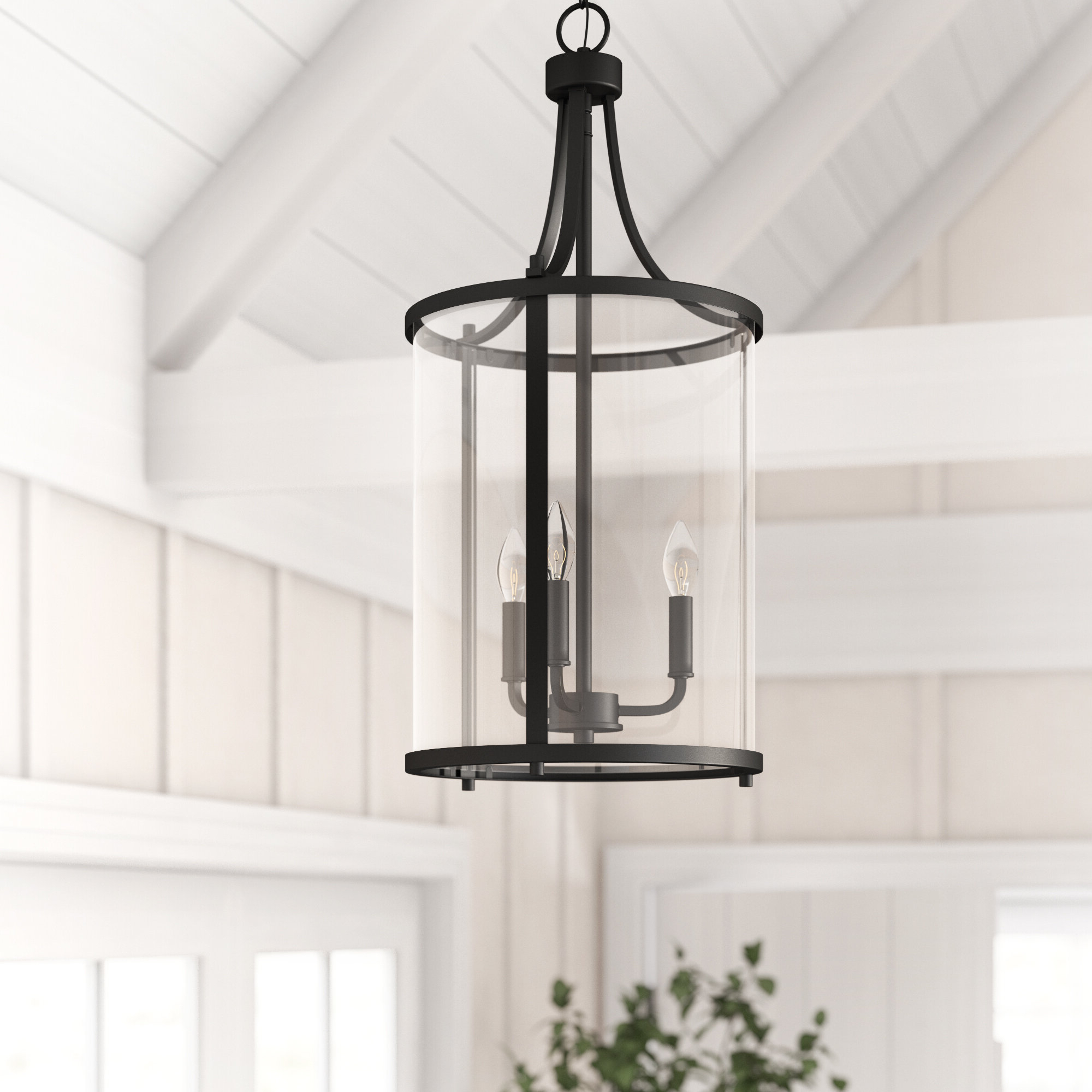 Famous Sherri Ann 3 Light Lantern Square / Rectangle Pendants Pertaining To Ezio 3 Light Lantern Cylinder Pendant (Gallery 20 of 20)
