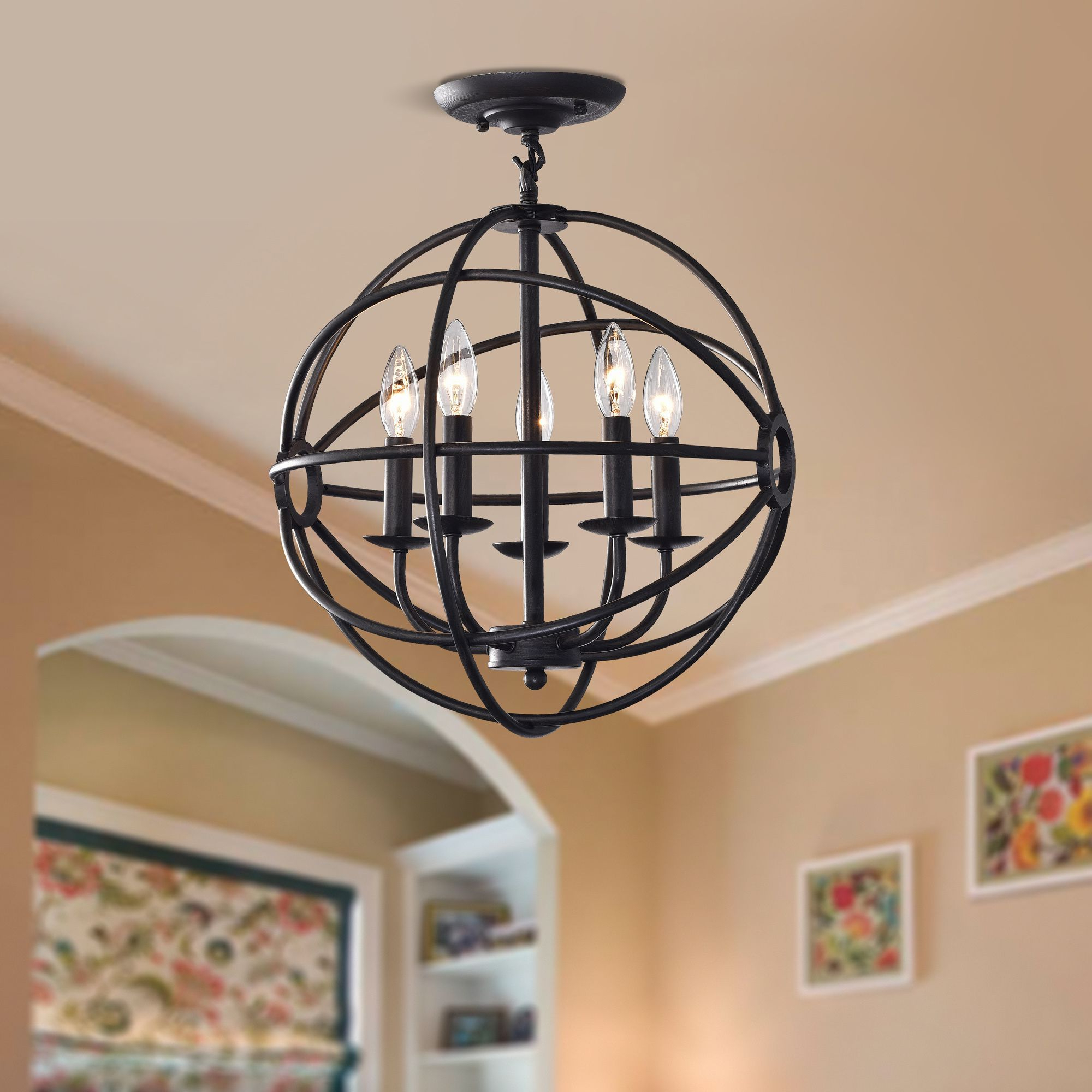Famous Verlene Foyer 5 Light Globe Chandeliers For Benita Antique Black 5 Light Iron Orb Flush Mount Chandelier (Gallery 16 of 20)