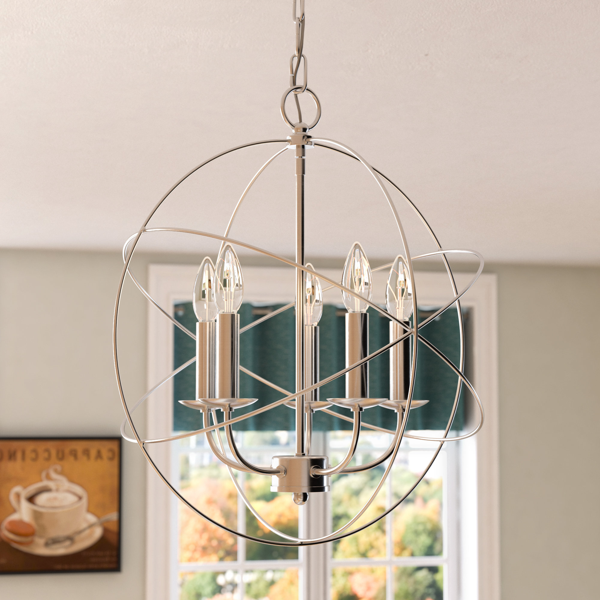 Famous Waldron 5 Light Globe Chandeliers Within Bordelon 5 Light Globe Chandelier (View 4 of 20)