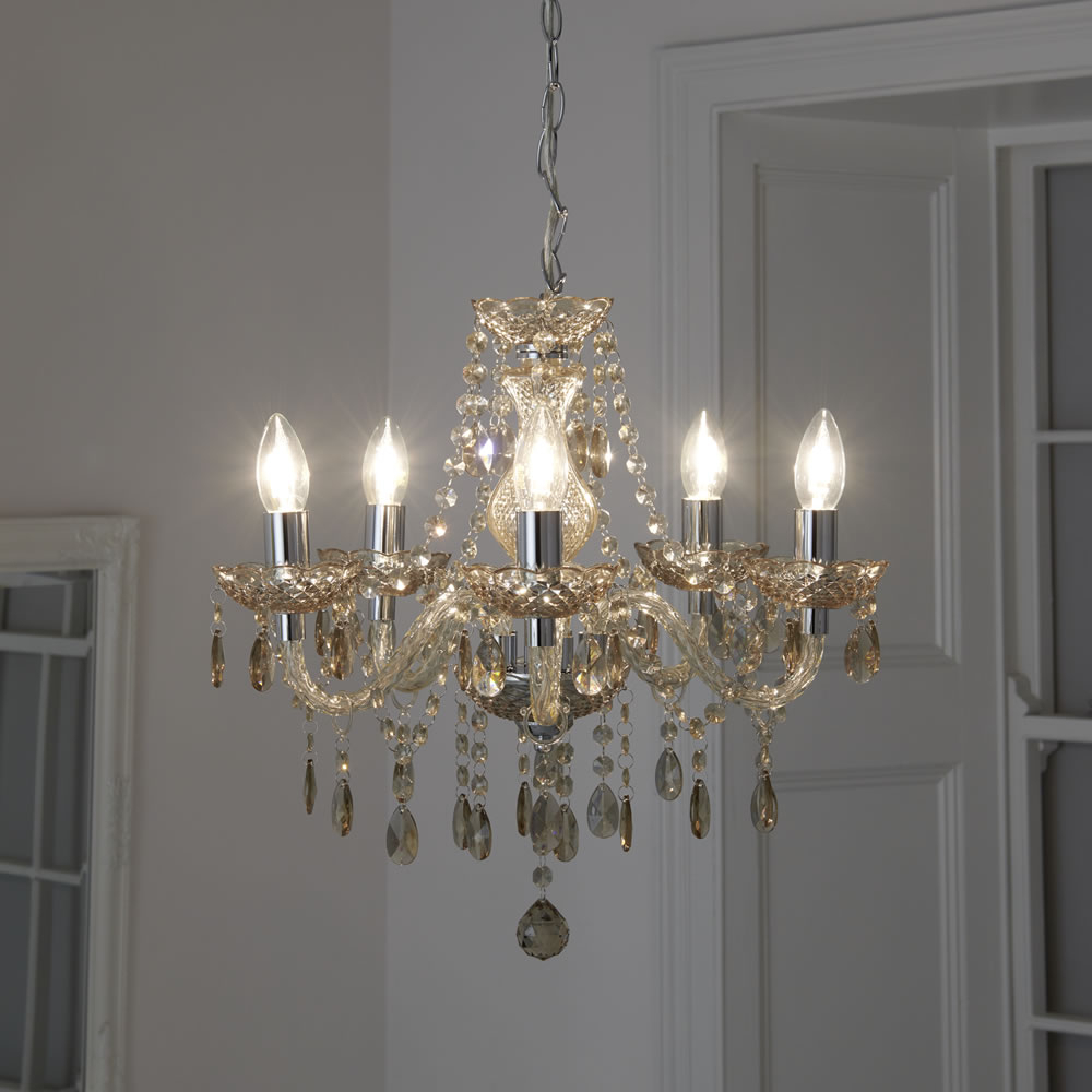 Famous Watford 9 Light Candle Style Chandeliers Pertaining To Wilko Marie 5 Arm Champagne Chandelier Ceiling Light (View 7 of 20)