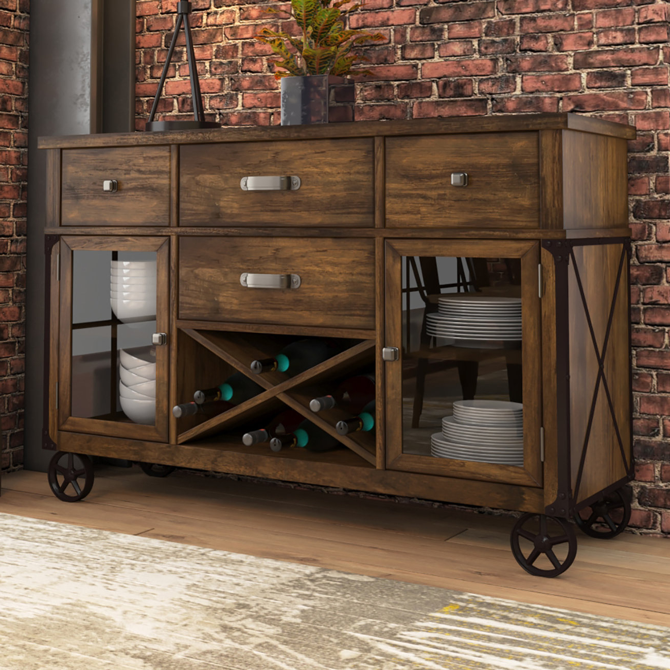 Farmhouse & Rustic Medium Brown Wood Sideboards & Buffets Pertaining To 2020 Chaffins Sideboards (View 11 of 20)