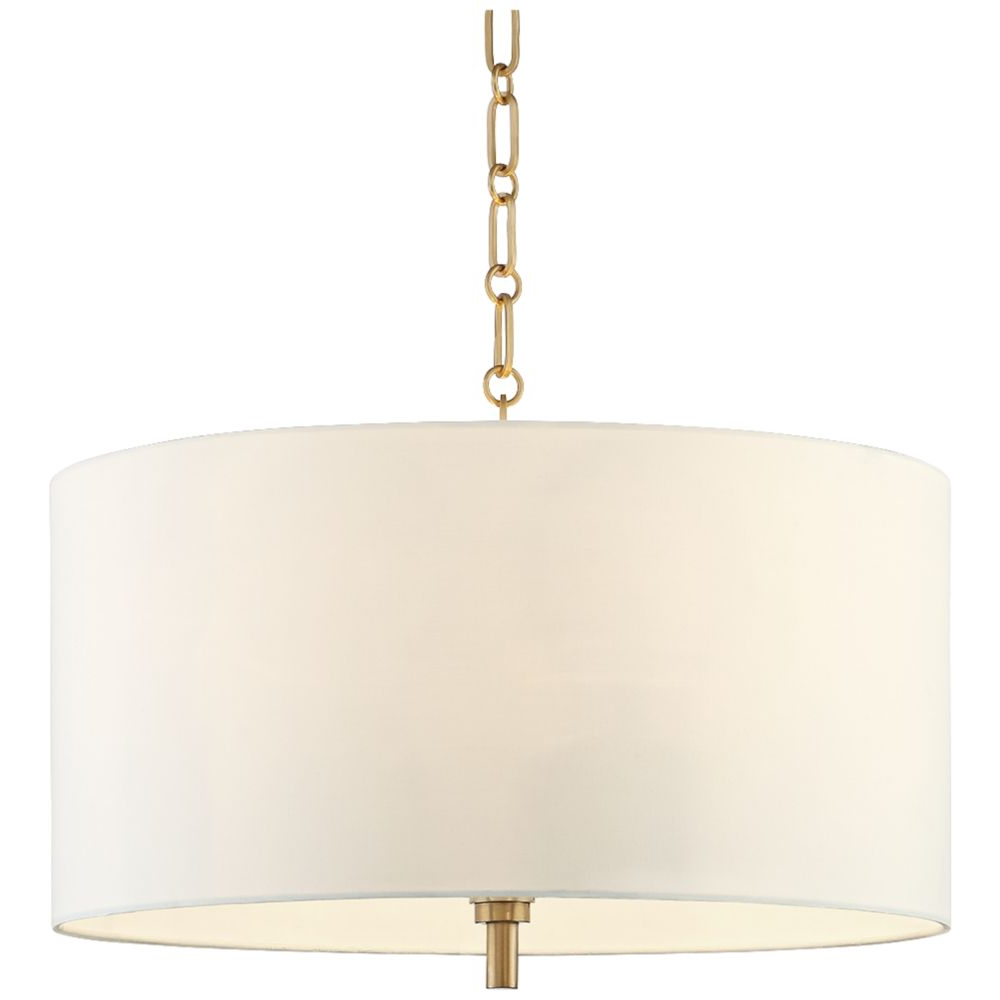 "Fashionable 20"" Wide Warm Gold Pendant Light With White Shade – Style Regarding Jill 4 Light Drum Chandeliers (Gallery 16 of 20)"