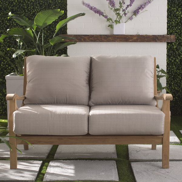 Fashionable Brunswick Teak Loveseat With Cushions Regarding Montford Teak Loveseats With Cushions (View 7 of 20)