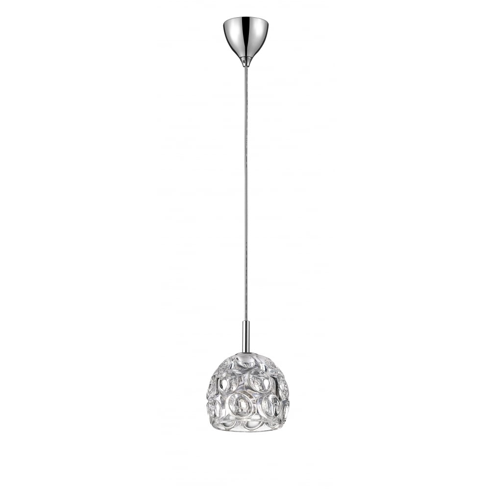 Fashionable Clea 3 Light Crystal Chandeliers Within Clea Crystal Single Ceiling Pendant Light In Chrome Finish Cfh1704/01/ch (Gallery 13 of 20)