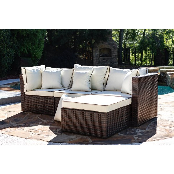 Fashionable Clifford Patio Sofas With Cushions Throughout Burruss Patio Sectional With Cushions (View 9 of 20)