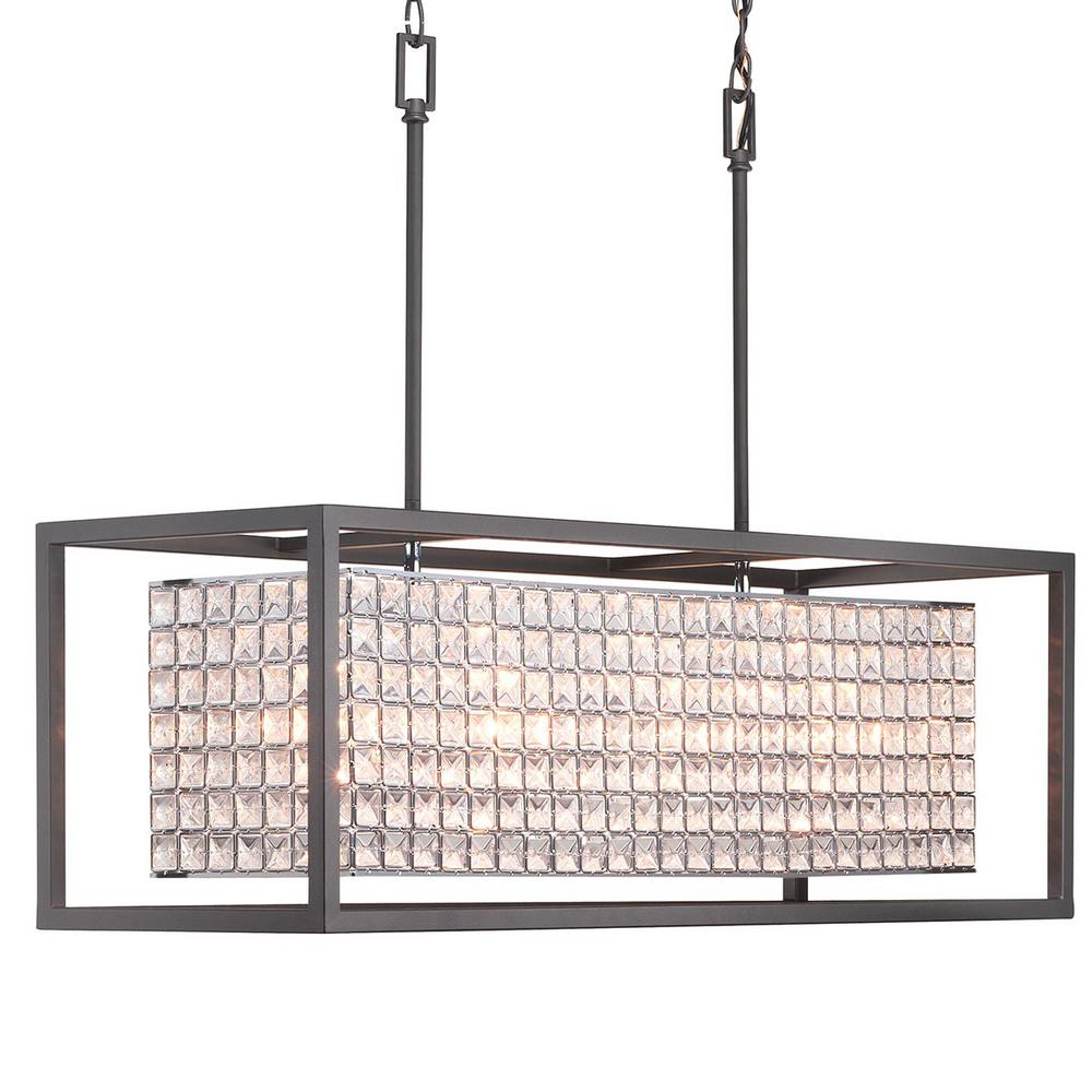 Fashionable Donna 4 Light Globe Chandeliers Inside Home Decorators Collection Shimmer Collection 4 Light Graphite Island Chandelier With Clear Crystal Shade (Gallery 18 of 20)