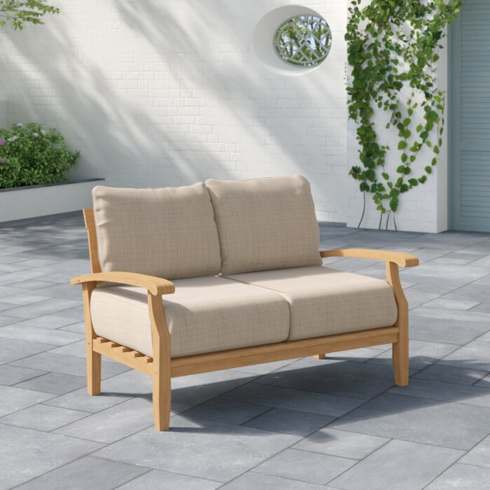 Fashionable Elaina Teak Loveseats With Cushions With Summerton Teak Loveseat With Cushions (Gallery 7 of 20)