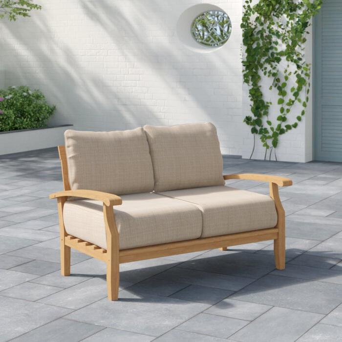 Fashionable Elaina Teak Loveseats With Cushions With Summerton Teak Loveseat With Cushions (View 11 of 20)