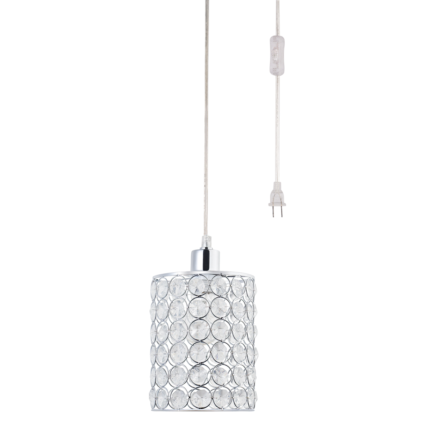 Fashionable Globe Electric Angelica 1 Light Caged Crystal & Polished Chrome Cylindrical Plug In Pendant,65142 Pertaining To Novogratz Vintage 5 Light Kitchen Island Bulb Pendants (View 19 of 20)