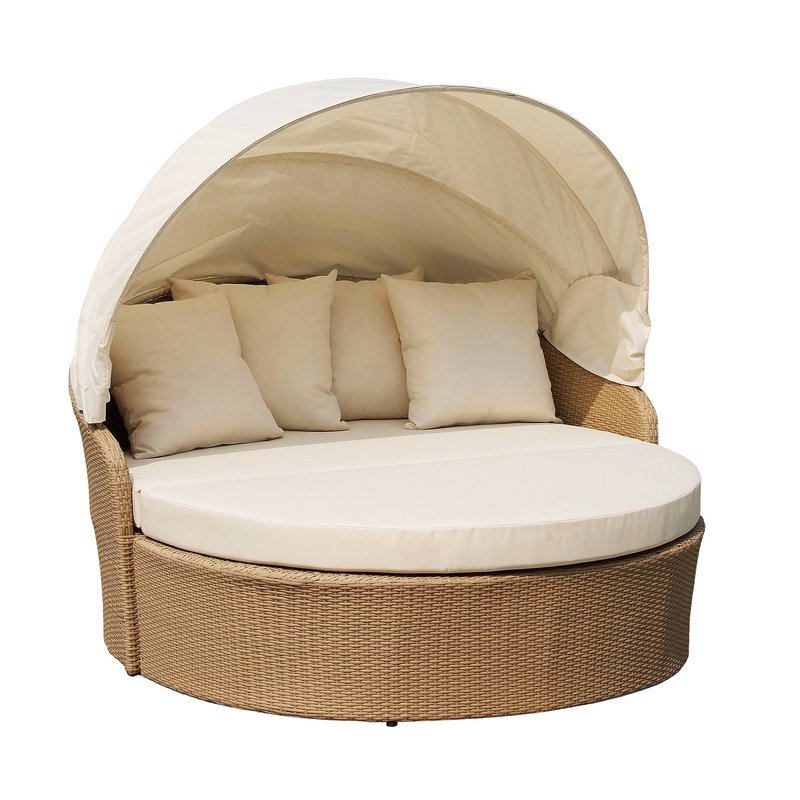 Fashionable Grosvenor Bamboo Patio Daybeds With Cushions Regarding Woolery Canopy Daybed With Cushions (Gallery 6 of 20)