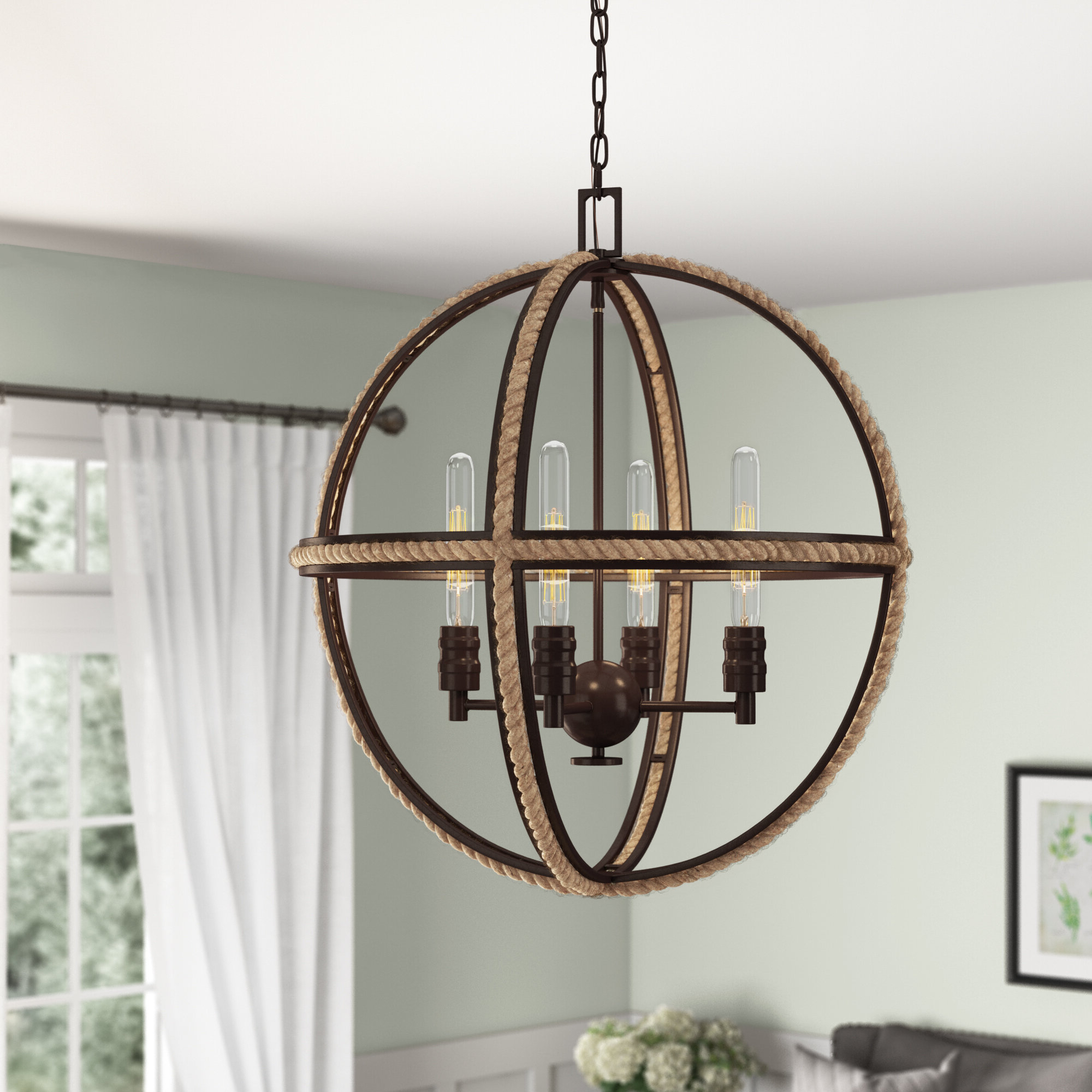 Fashionable Kennett 4 Light Globe Chandelier Throughout Donna 4 Light Globe Chandeliers (Gallery 8 of 20)