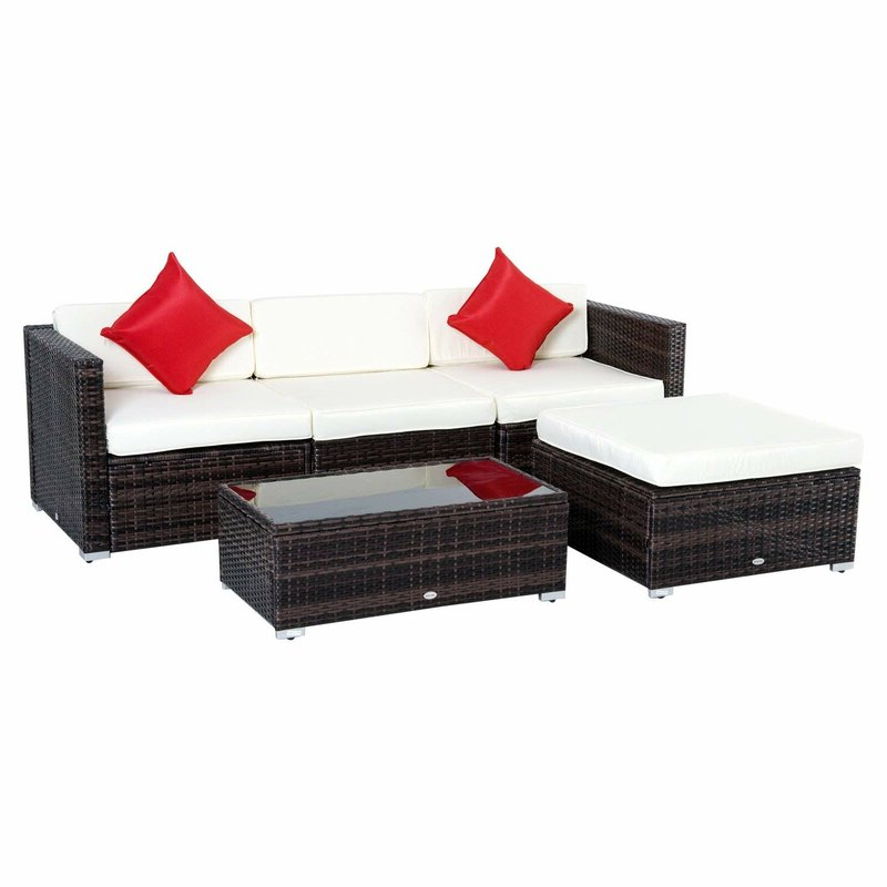 Fashionable Larsen Patio Sectionals With Cushions With Regard To Hazen 5 Piece Rattan Sectional Seating Group With Cushions (Gallery 11 of 20)