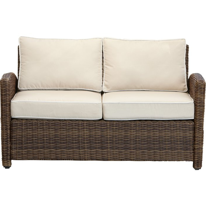 Fashionable Lawson Wicker Loveseat With Cushions With Mosca Patio Loveseats With Cushions (View 11 of 20)