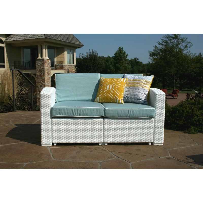 Fashionable Loggins Loveseats With Cushions Inside Loggins Patio Loveseat With Cushions (View 6 of 20)