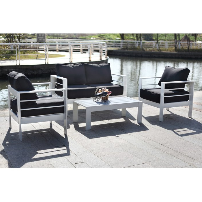 Fashionable Michal 4 Piece Sofa Seating Group With Cushions For Michal Patio Sofas With Cushions (View 8 of 20)