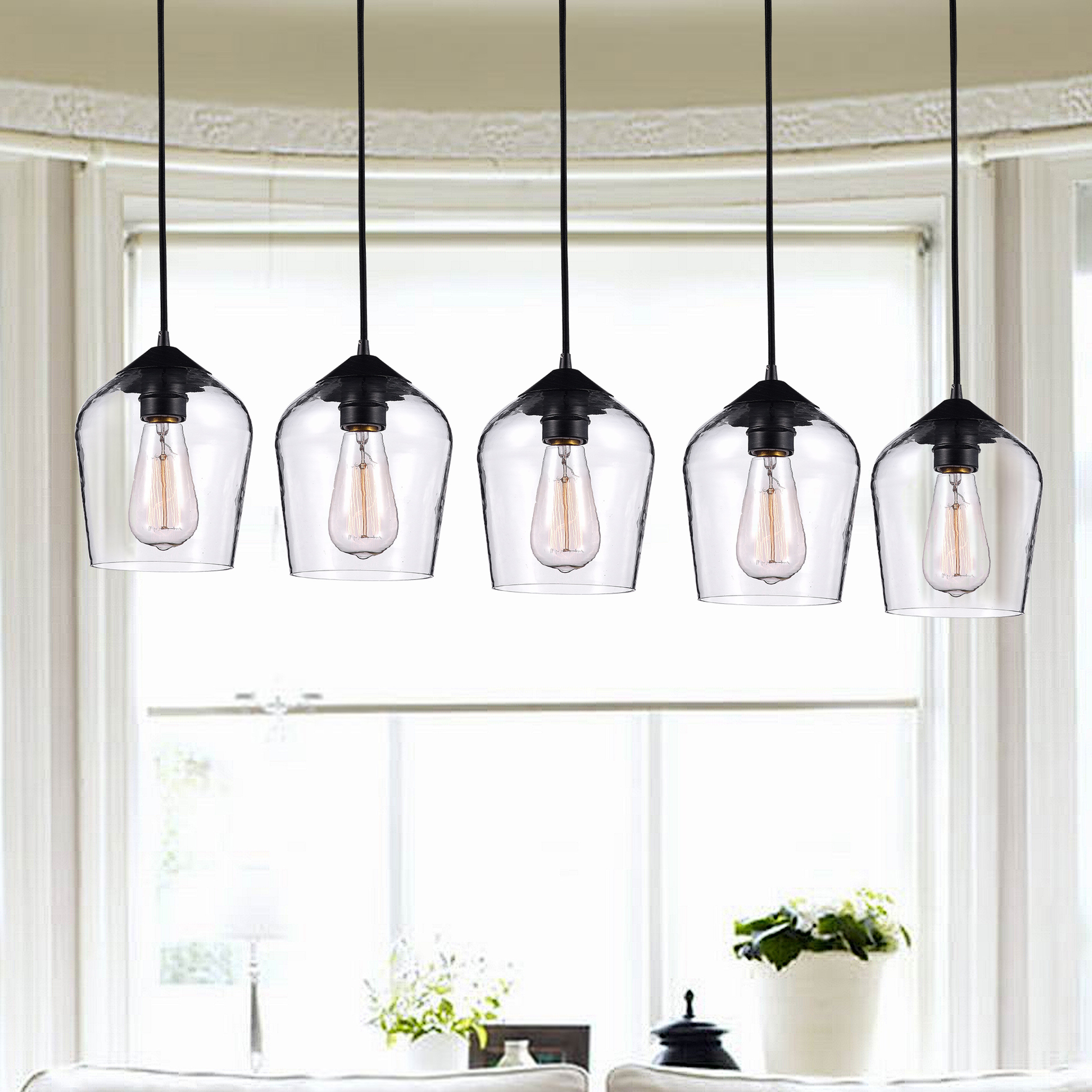 Fashionable Scruggs 5 Light Kitchen Island Linear Pendant Regarding Scruggs 1 Light Geometric Pendants (Gallery 18 of 20)