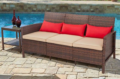 Fashionable Suncrown 3 Seat Outdoor Patio Sofa Couch – Wicker Patio Within Mullenax Outdoor Loveseats With Cushions (View 16 of 20)