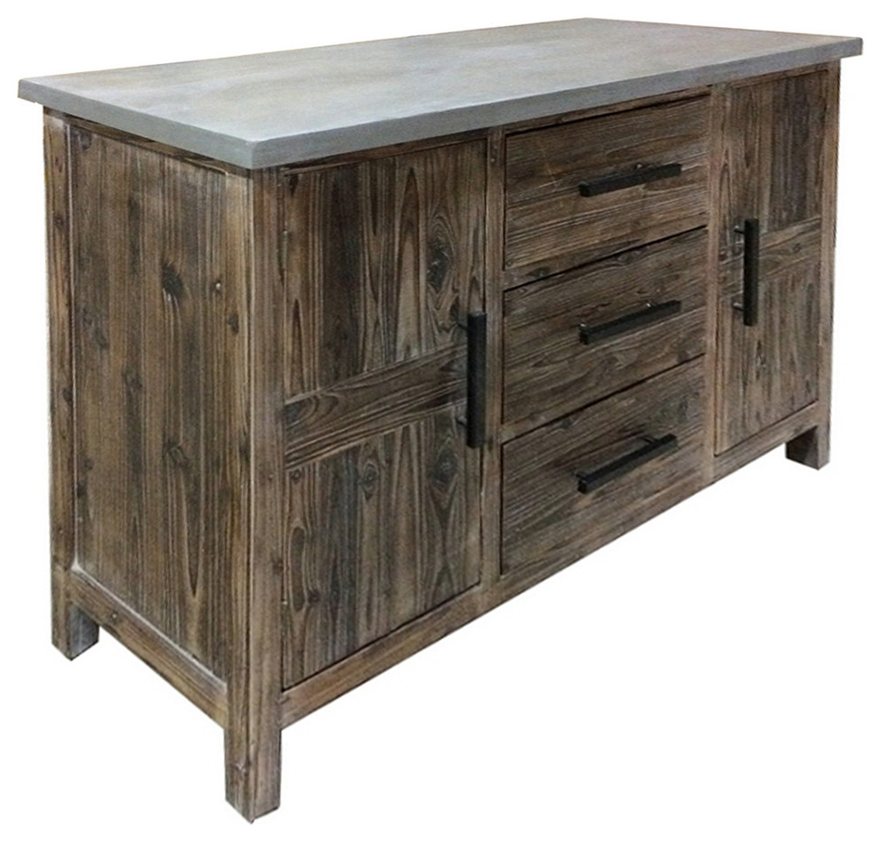 Fashionable Venezio 3 Drawer Sideboard With Faux Cement Top, Rustic Brown Regarding Ruskin Sideboards (View 7 of 20)