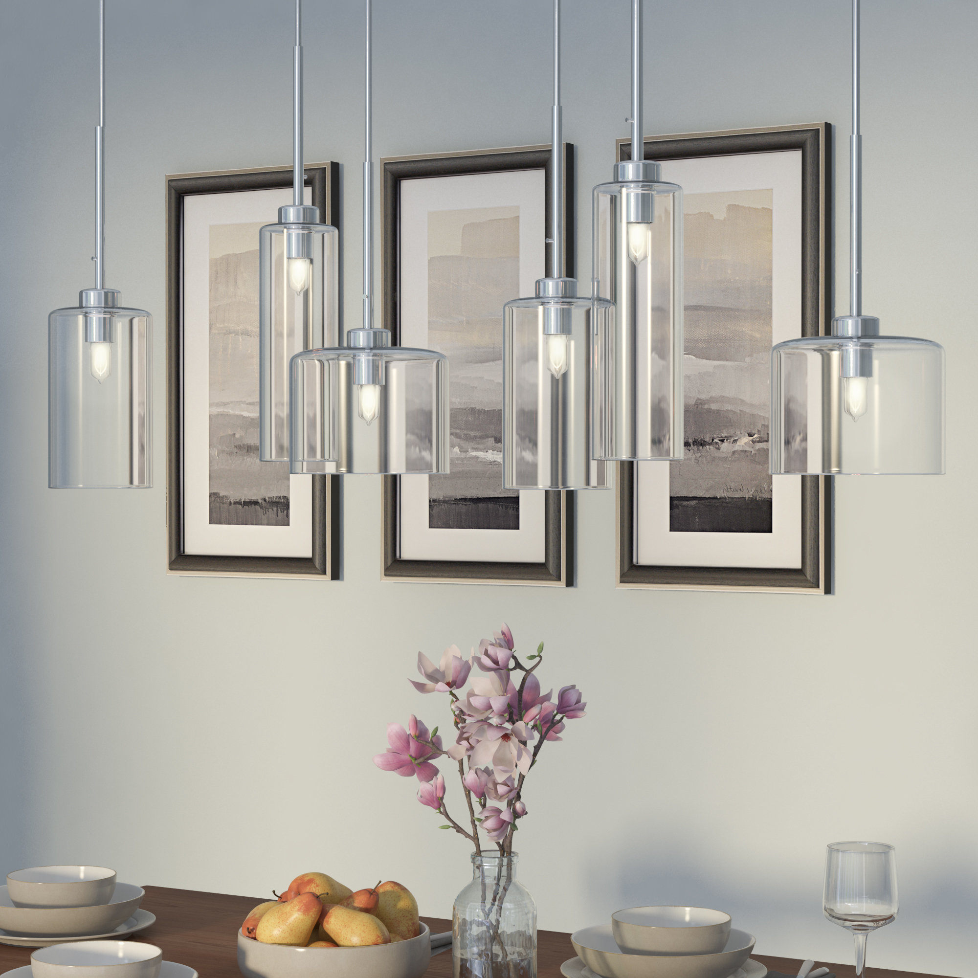 Fashionable Wade Logan Siddharth 6 Light Kitchen Island Pendant Intended For Bautista 6 Light Kitchen Island Bulb Pendants (Gallery 7 of 20)