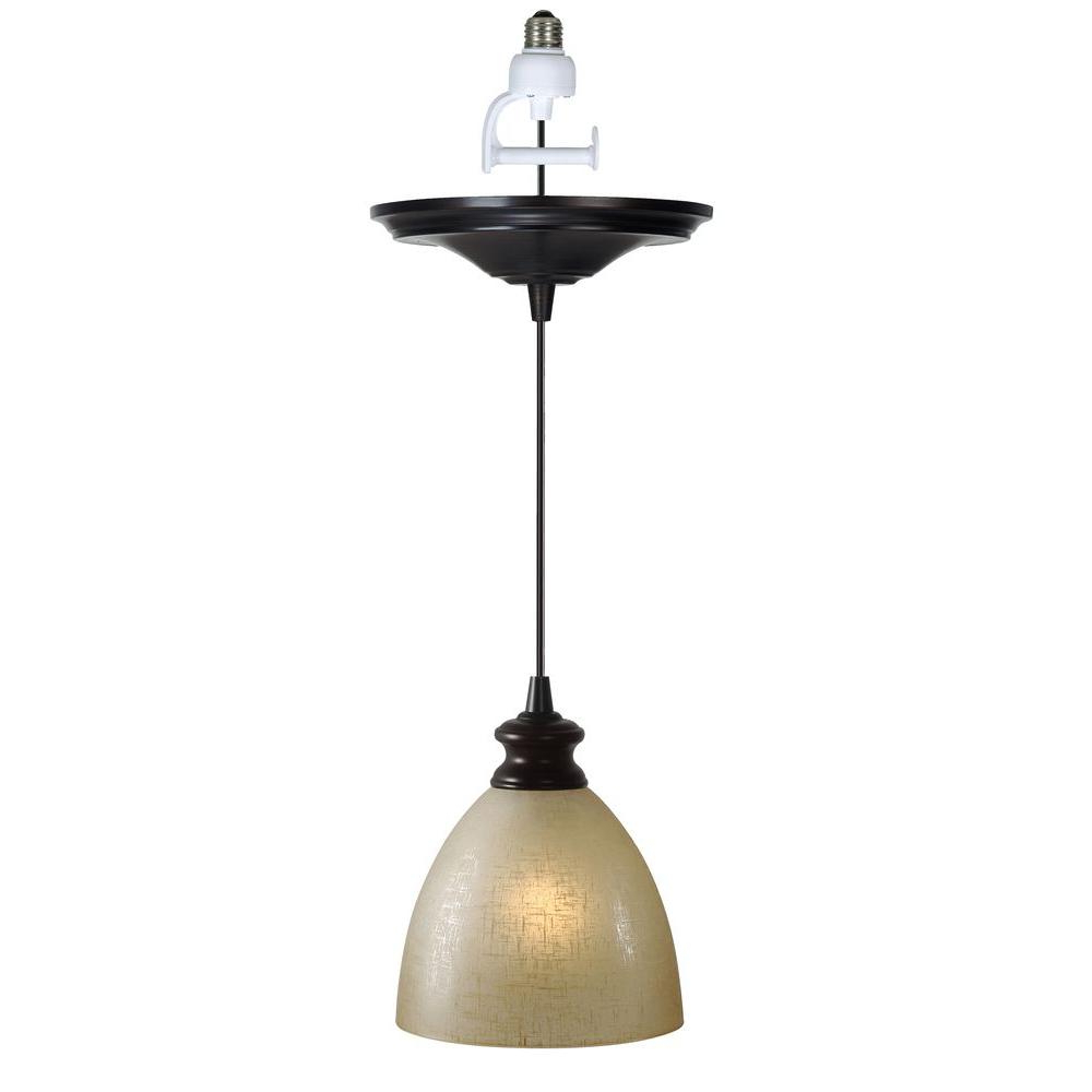 Fashionable Worth Home Products Instant Pendant 1 Light Recessed Light Conversion Kit  Brushed Bronze Linen Glass Shade Pertaining To Houon 1 Light Cone Bell Pendants (View 5 of 20)