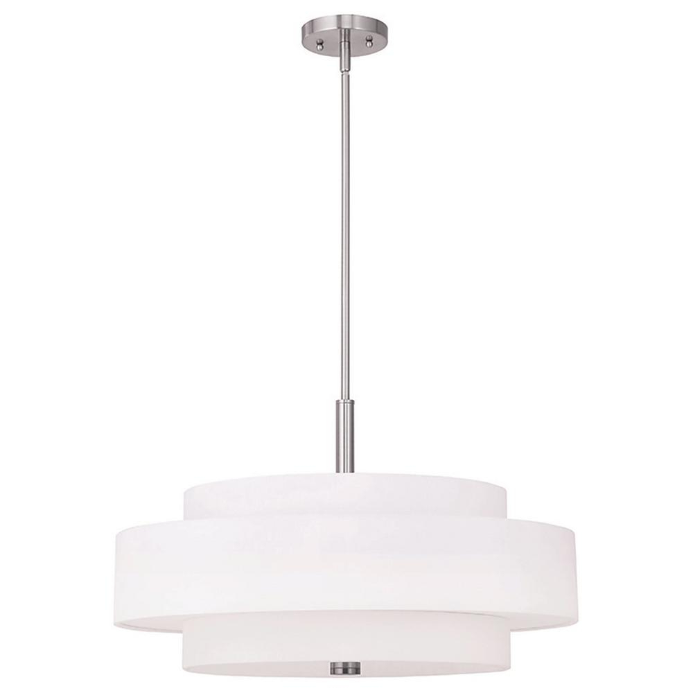 Favorite Alina 5 Light Drum Chandeliers With Regard To Livex Lighting Meridian 5 Light Brushed Nickel Pendant (Gallery 17 of 20)