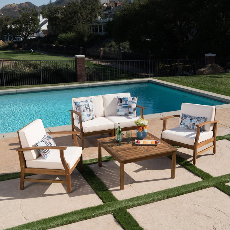 Favorite Antonia 4 Piece Sofa Set With Cushions Throughout Antonia Teak Patio Sectionals With Cushions (View 9 of 20)