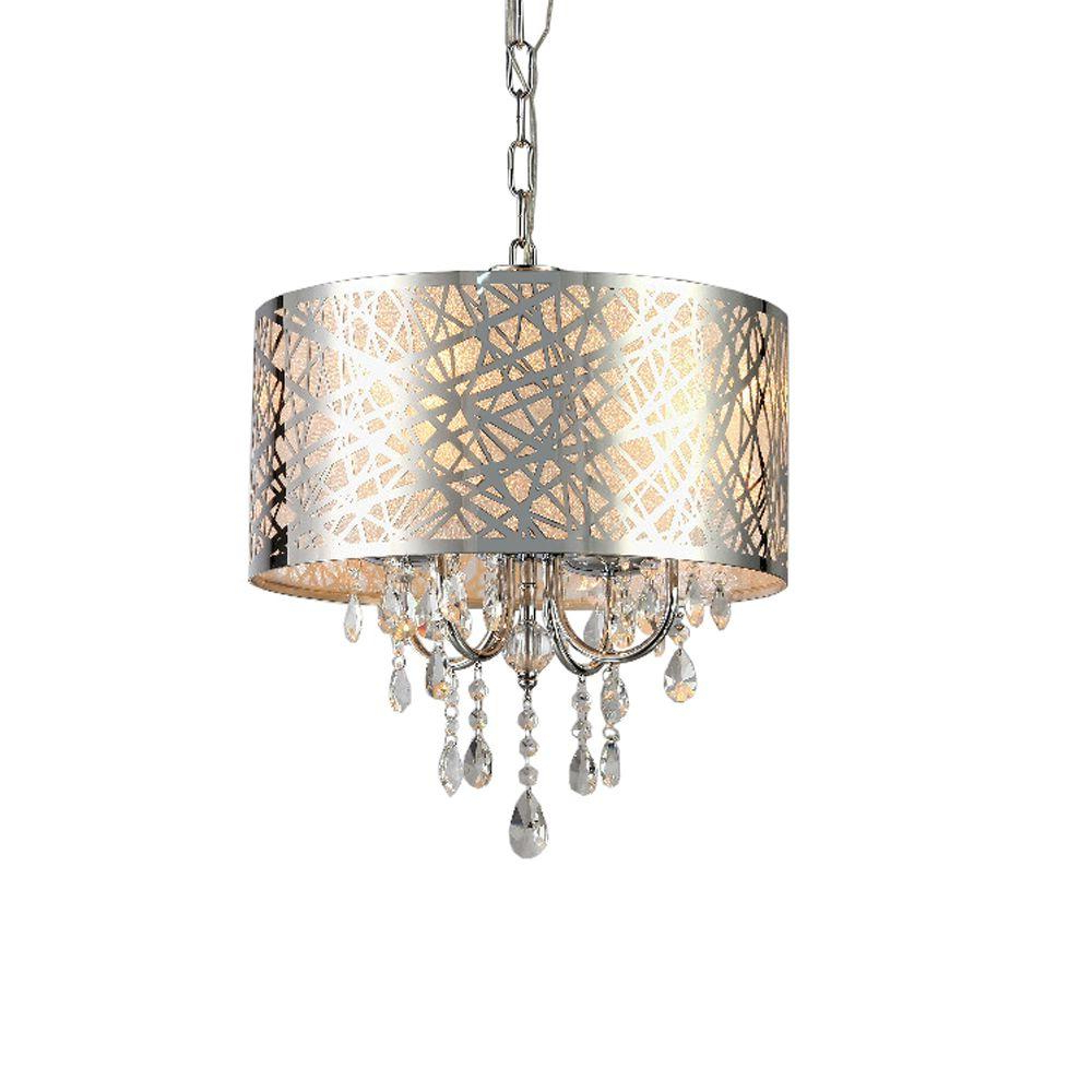 Favorite Aurore 4 Light Crystal Chandeliers Within Abstract 4 Light Chrome Indoor Crystal Chandelier With Shade (View 15 of 20)