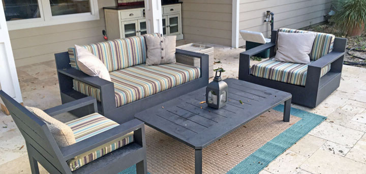 Favorite Blog – Striped Sunbrella Loveseat And Chair Cushions Add Inside Calvin Patio Loveseats With Cushions (View 12 of 20)