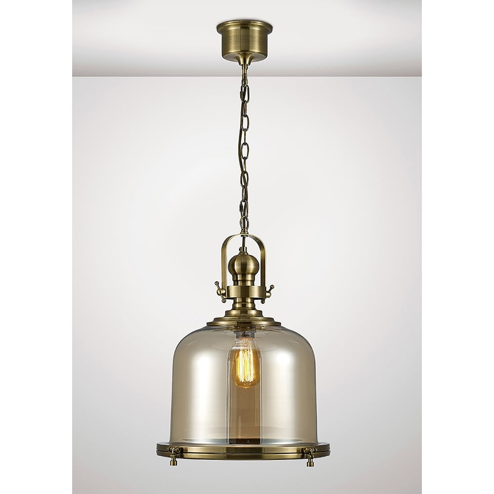 Favorite Diyas Riley Single Light Large Ceiling Pendant In Antique Brass And Bell  Shaped Glass Shade Inside Terry 1 Light Single Bell Pendants (Gallery 9 of 20)