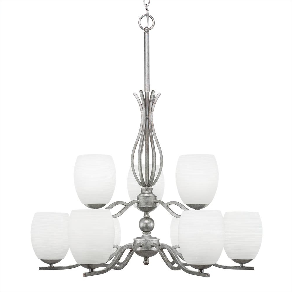 Favorite Gaines 9 Light Candle Style Chandeliers With Regard To Filament Design 9 Light Aged Silver Chandelier With 5 In. White Linen Glass (Gallery 19 of 20)