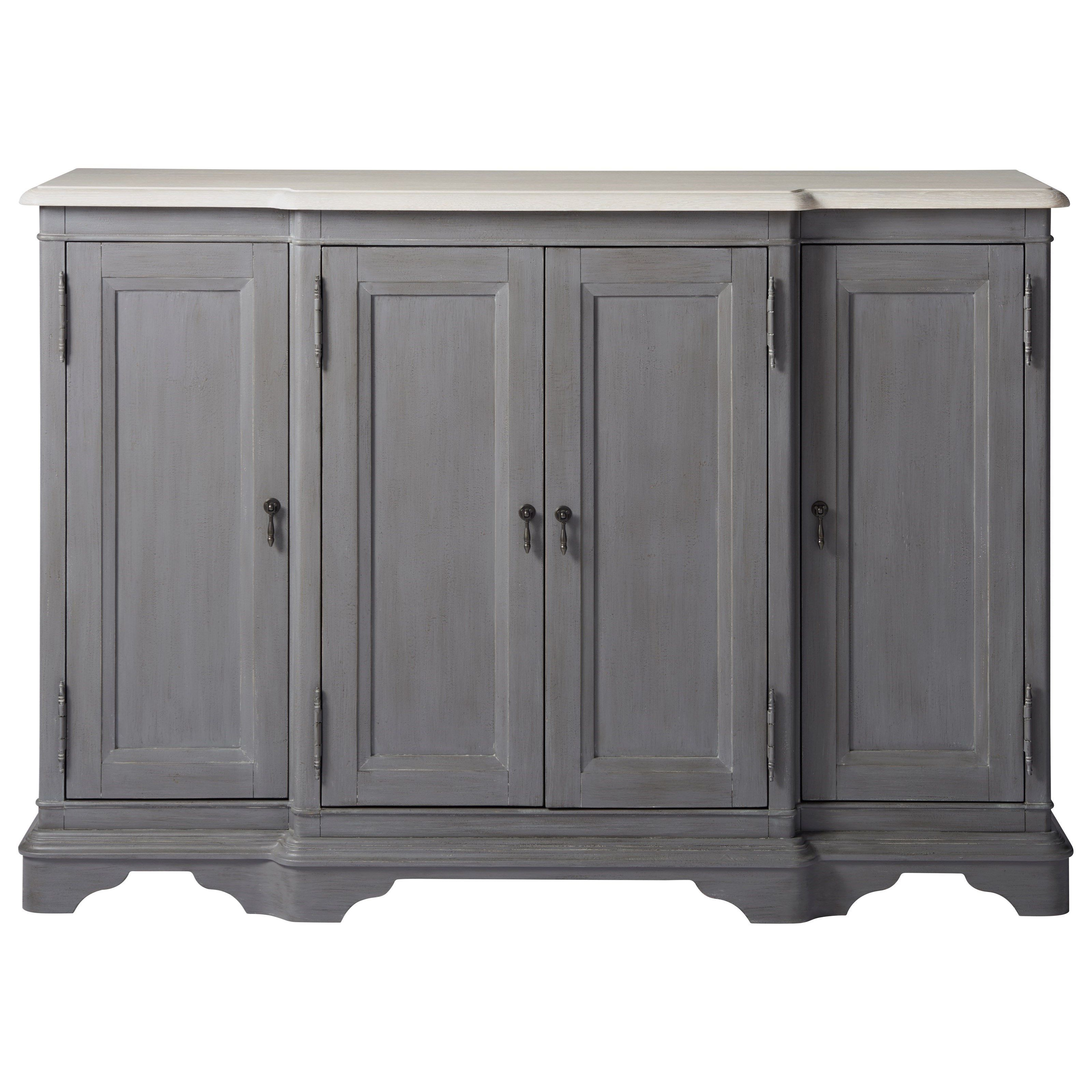 Favorite Giulia 3 Drawer Credenzas In Bungalow Cottage Credenza With Wine Bottle Storagepaula (View 4 of 20)
