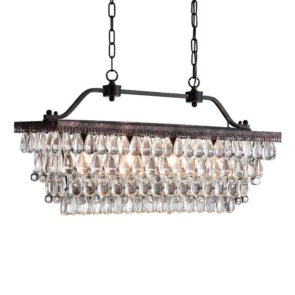 Favorite Gracelyn 8 Light Kitchen Island Pendants In Edvivi 4 Light Antique Bronze Crystal Chandelier In  (View 6 of 20)