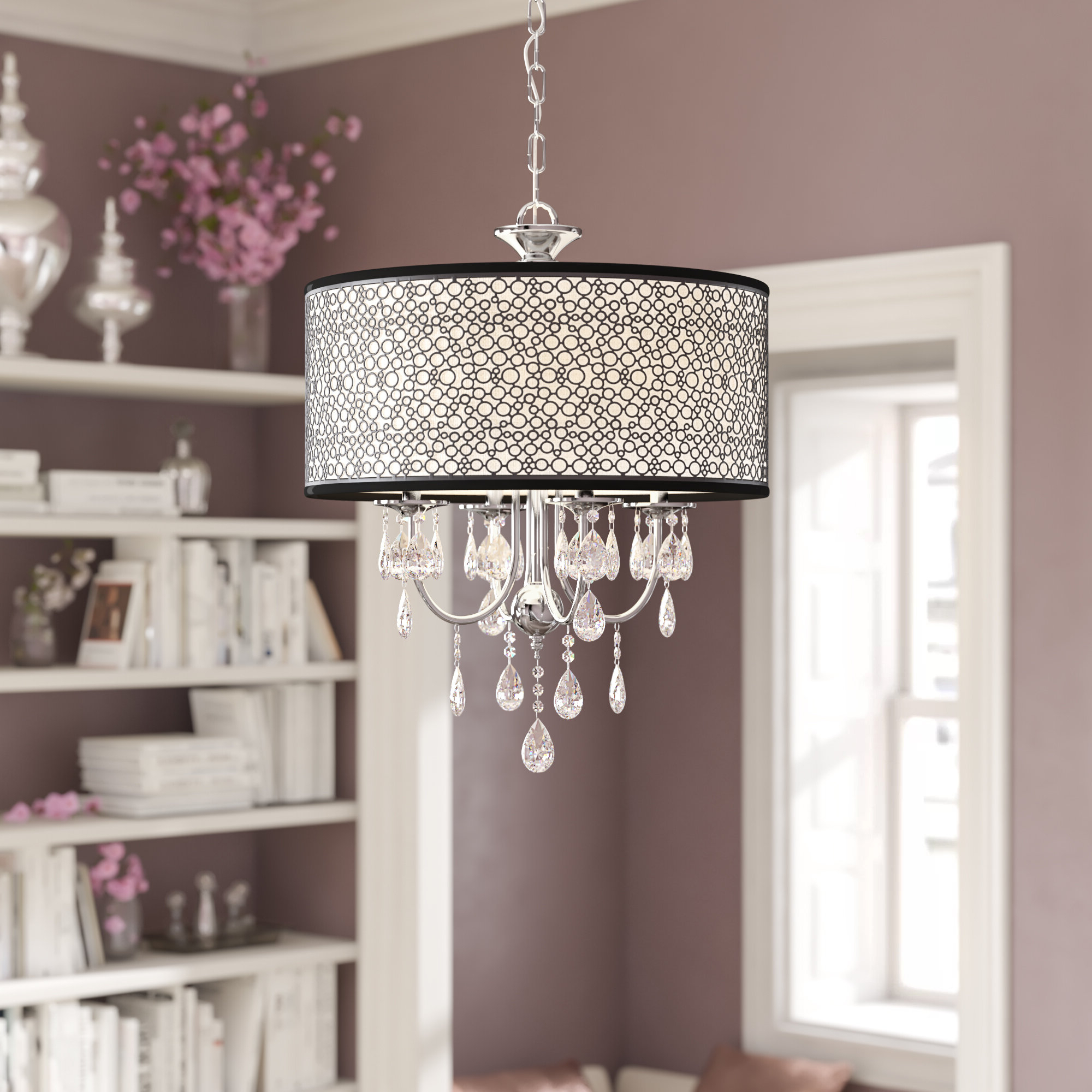 Favorite Jill 4 Light Drum Chandeliers Intended For Darshan 4 Light Drum Chandelier (View 10 of 20)
