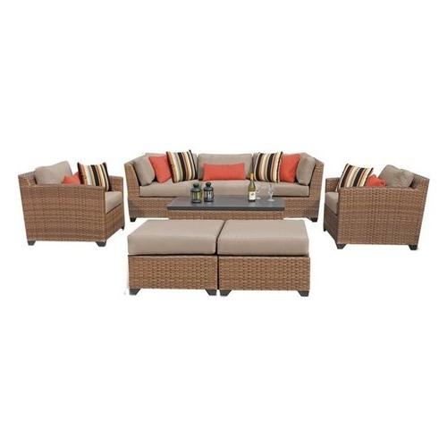 Favorite Laguna 8 Piece Patio Wicker Sofa Set, Tan With Regard To Laguna Outdoor Sofas With Cushions (View 4 of 20)