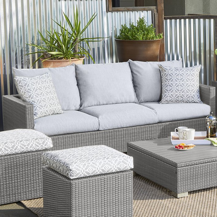 Favorite Mcmanis Patio Sofa With Cushion Regarding Stockwell Patio Sofas With Cushions (View 4 of 20)