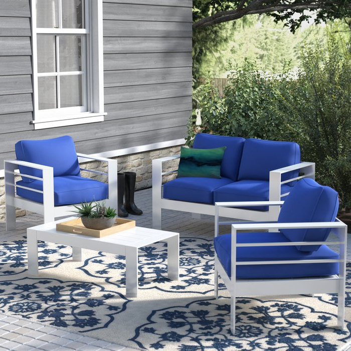 Favorite Michal Patio Sofas With Cushions With Michal 4 Piece Sofa Seating Group With Cushions (View 3 of 20)