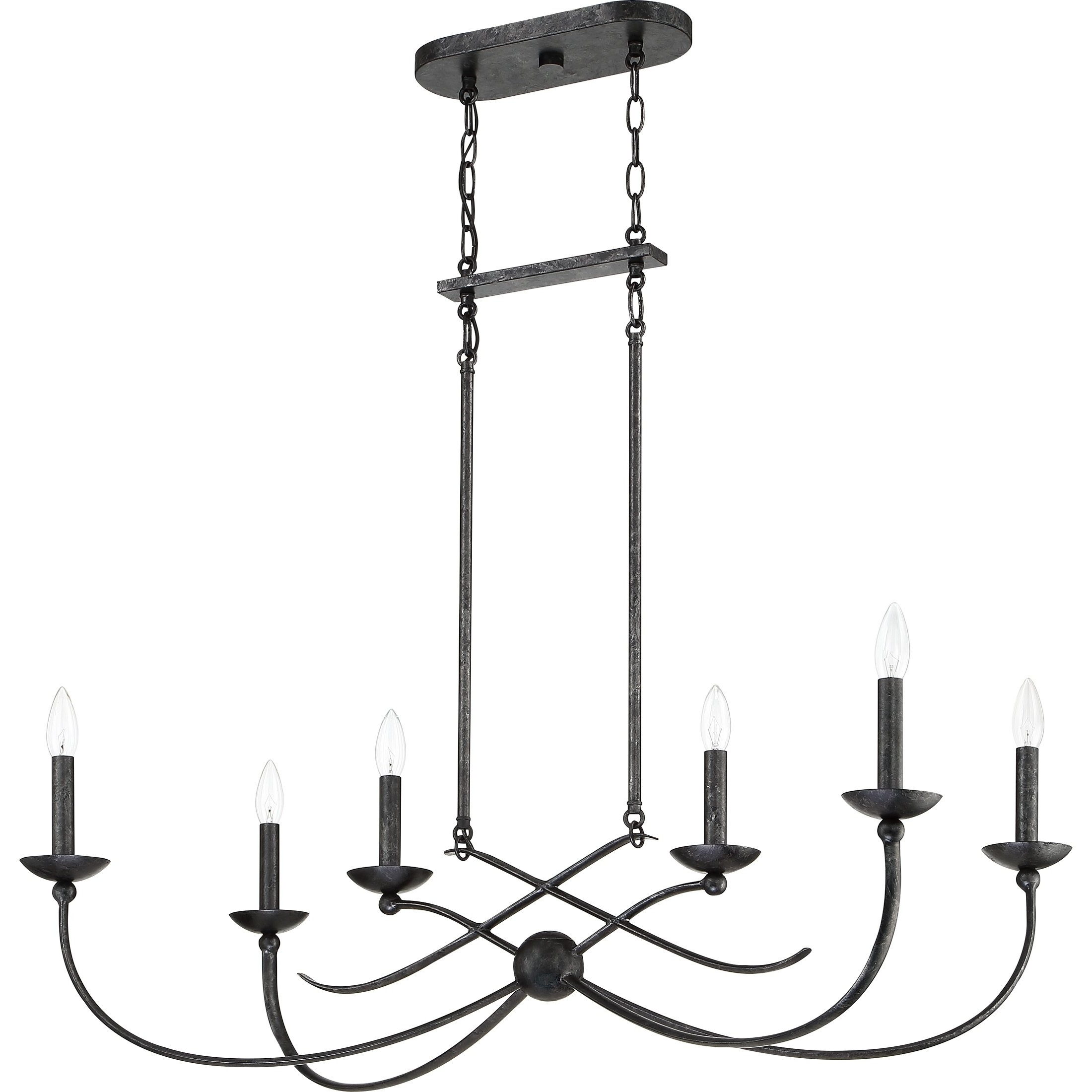 Favorite Quoizel Calligraphy Old Black 6 Light Island Chandelier In With Regard To Hamza 6 Light Candle Style Chandeliers (View 6 of 20)